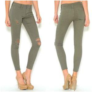 Michael Kors IZZY Ankle Crop Olive Skinny Jean